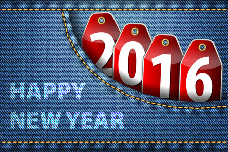 worldwide wish: Happy New Year greetings and 2016 digits on red tags in blue jeans pocket. Vector illustration