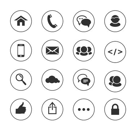 black pictogram: Web, communication black and white icons: internet. illustration