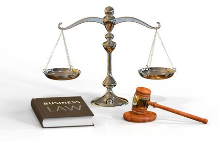 hammers: Illustration of legal attributes: gavel, scale and business law book on the white with shadows Stock Photo