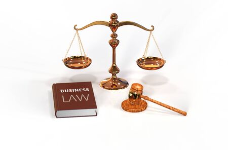 attributes: Illustration of legal attributes: gavel, scale and business law book on the white with shadows Stock Photo