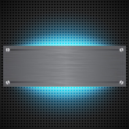 inset: Perforated technological background with blue laser light behind brushed metal blank inset. Futuristic neon light modding cyber template. illustration Illustration