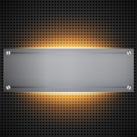 inset: Perforated technological background with orange light behind brushed metal blank inset like a installed rack. Futuristic neon light modding cyber template. illustration Illustration