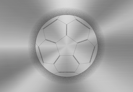 diffuse: Soccer ball icon made of stipples like sprayed paint on a brushed metal background. Illustration