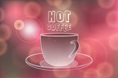 miraculous: Hot coffee banner with Hot coffee words on Festive bokeh lights abstract background. Cafe menu banner. Hot coffee illustration