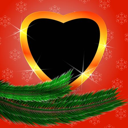 miracle tree: Cute Christmas background with heart shaped blank photo frame. Heart shiny shape and heart black frame.