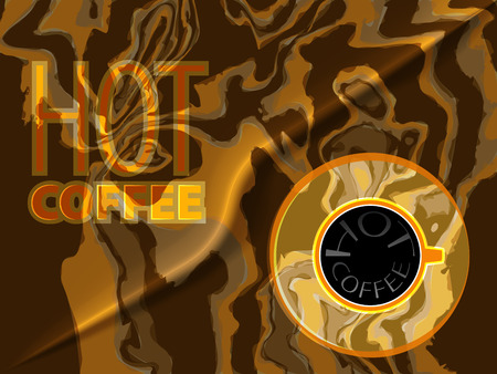 hot cup: Hot coffee words and top view of cup of coffee on camouflage background. Hot coffee steam on a black coffee liquid. Coffee banner for cafe. Illustration