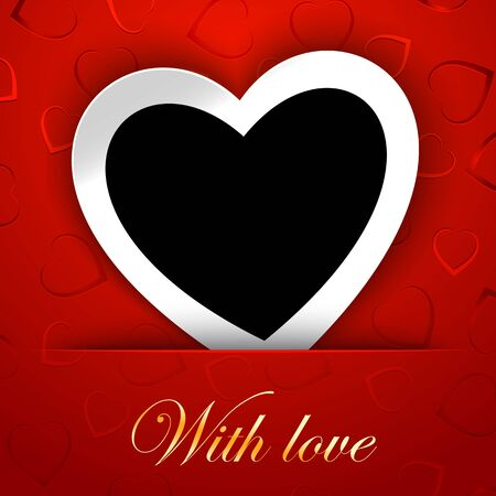 Love card template with blank photo frame heart shaped on the red hearts on background. Heart white frame and heart black template.