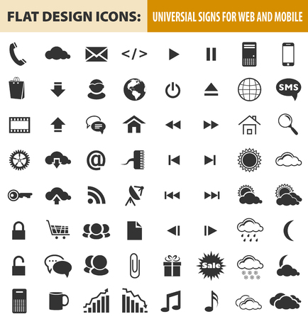 website buttons: Web and mobile flat design icons, elements, buttons. Signs for website designs and business projects.
