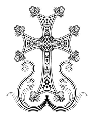 blossomed: Traditional Armenian Apostolic Church cross clip art. Cross with ornaments and blossomed branches. Beautiful cross illustration.