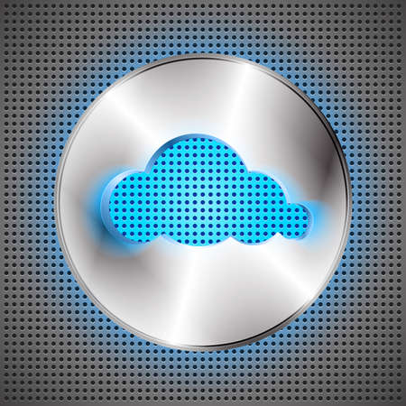 cloud shape: Cloud computing futuristic background. Technological perforated background with cloud button and cloud shape cut off.