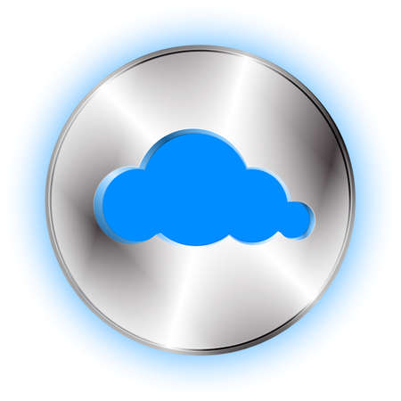 cut off: Cloud futuristic icon. Technological background with cloud button and cloud shape cut off.