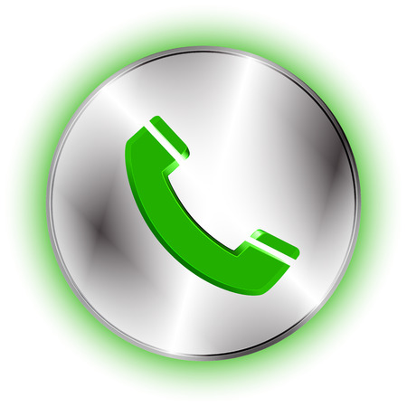 phone button: Phone futuristic icon. Technological metallic circle icon with phone button and handset shape cut off. Best for business presentations, application icon, web design and other visualizations.