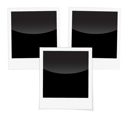other space: Retro 3 photo frames isolated on white. Blank photo frames for inserting on black space any image you like: from traveling, memories, loving people, couples families and other.
