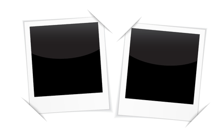 people traveling: Retro 2 photo frames isolated on white. Blank photo frames for inserting on black space any image you like: from traveling, memories, loving people, couples families and other.