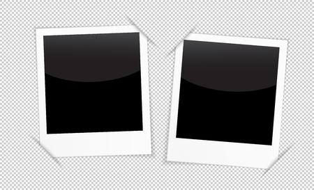 Retro 2 marcos de fotos en el fondo transparente. marcos de fotos en blanco para la inserción en el espacio negro la imagen que desee: desde los viajes, las memorias, amantes de la gente, familias y parejas y otros.