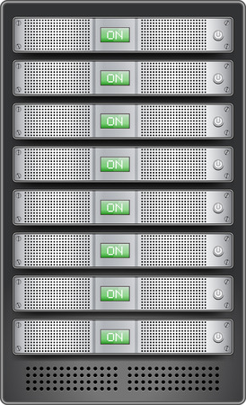 Servers in installed in rack. 1U size servers with ON displayed on monitor and inserted in server rack. Illustration