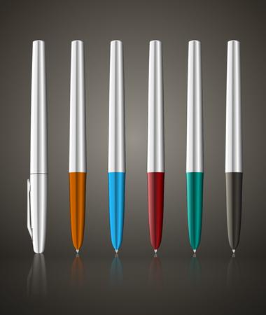 Colorful metallic ball pens.