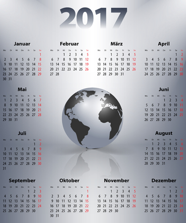 mondays: German business calendar for 2017 year with the world globe in a spot lights. Best calendar for print, business and web design use. Poster format calendar. Mondays first.