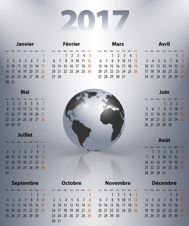 mondays: French business calendar for 2017 year with the world globe in a spot lights. Best calendar for print, business and web design use. Poster format calendar. Mondays first.
