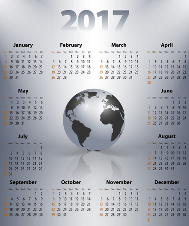 sundays: English business calendar for 2017 year with the world globe in a spot lights. Best calendar for print, business and web design use. Poster format calendar. Sundays first. Illustration