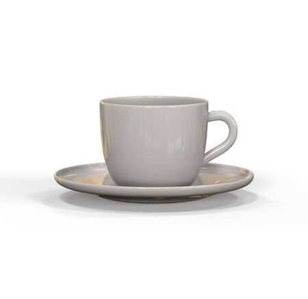 Mockup of coffee or tea cup on plate. Realistic three dimensional render of coffee and tea glass mugshot. Mock up can be used for placing signs and symbols or any corporate identity on a blank area