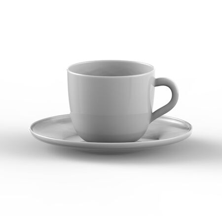 glass cup: Mockup of coffee or tea cup on plate. Three dimensional render of coffee and tea glass mugshot. Mock up can be used for placing signs and symbols or any corporate identity on a blank area. Realistic Three dimennsional illustration