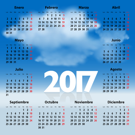 mondays: Calendar for 2017 year in Spanish with clouds in the blue sky. Mondays first. Illustration