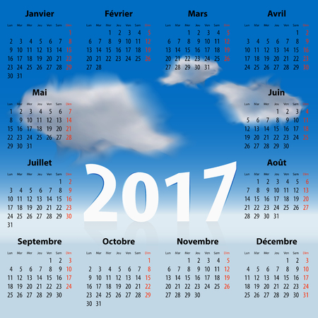mondays: French Calendar for 2017 year with clouds in the blue sky. Mondays first. For web, print and presentations. Illustration