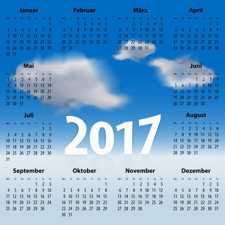 europian: German Calendar for 2017 year with clouds in the blue sky. Best for print, web design and presentation. Copy space on clouds for any message, text or sign. Mondays first.