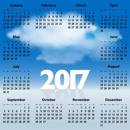 sundays: English Calendar for 2017 year with clouds in the blue sky. Best for print, web design and presentations. Copy space for text, messages or signs. Sundays first. Illustration