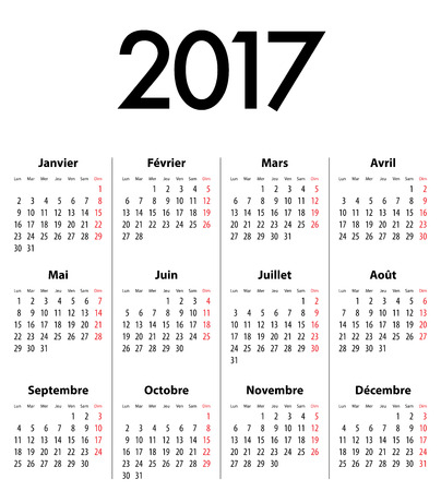 French Calendar grid for 2017 year. Best for calendar print, business, web design, office needs and presentations. Mondays first. Illustration