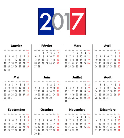 mondays: French Calendar grid for 2017 year. Flag colors under 2017 digits. Best for calendar print, business, web design, office needs and presentations. Mondays first. Vector illustration