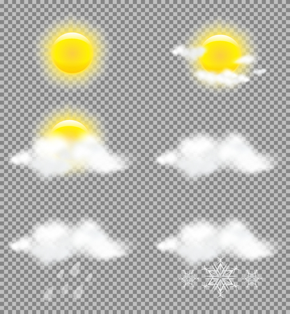 mostly: Realistic transparency sun and clouds in weather icons set for business presentations, tv forecast, print and web designs. Vector Illustration Illustration