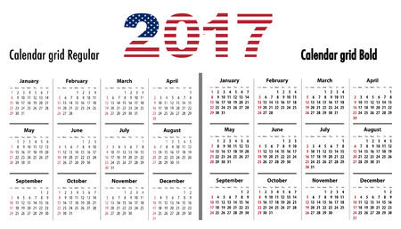 sundays: Calendar grid for 2017 with USA flag colors on 2017. Sundays first. Regular and bold digits grid. Best for business and office needs, web design, presentations and prints. Sundays first. Vector illustration Illustration