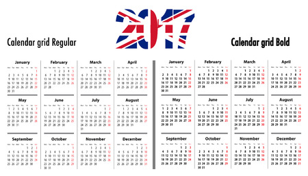 mondays: Calendar grid for 2017 with United Kingdom flag colors on 2017. Mondays first. Regular and bold digits grid. Best for business and office needs, web design, presentations and prints. Vector illustration