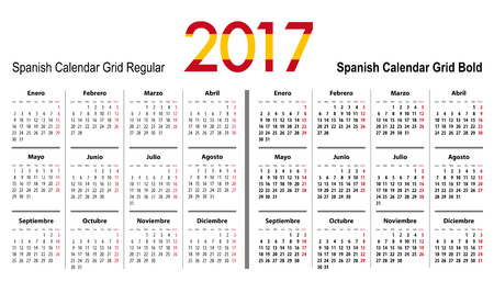mondays: Calendar grid for 2017 with Spain flag colors on 2017. Mondays first. Regular and bold digits grid. Best for business and office needs, web design, presentations and prints. Vector illustration