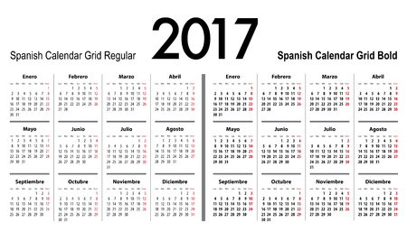 mondays: Spanish Calendar grid for 2017. Mondays first. Regular and bold digits grid. Best for business and office needs, web design, presentations and prints. Vector illustration