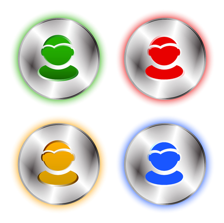 cut off: User profile colorful icon set. Tehno metallic circle base and user shape cut off. Best for business presentations, application icon, web design and other visualisations. Vector illustration