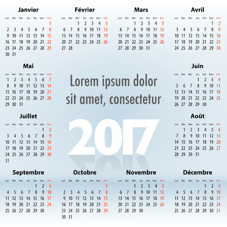 mondays: French Calendar for 2017 year on blue background. Mondays first. For web, print and presentations. Vector illustration