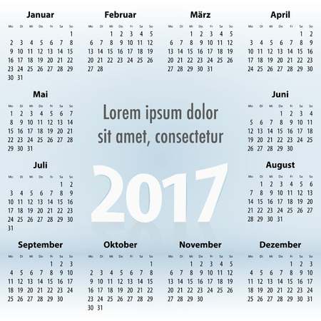 europian: German Calendar for 2017 year on the blue sky background. Best for print, web design and presentation. Copy space on clouds for any message, text or sign. Mondays first. Vector illustration