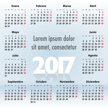 mondays: Calendar for 2017 year in Spanish on the blue background. Mondays first. Vector illustration