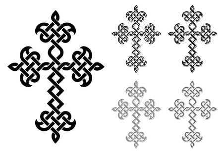 Traditional Armenian Apostolic Church plaited crosses set. Vector illustration