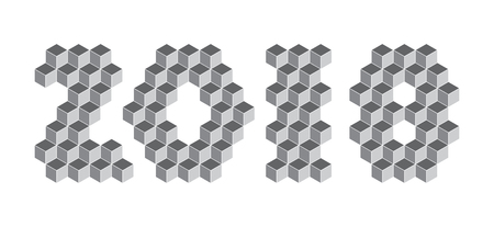 2018 digits from isometric cubes for calendars. Pseudo three dimensional. Vector illustration