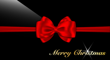 Red bow and Merry Christmas words on glossy black. Present and gift card needs. Vector illustration.