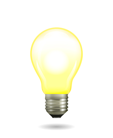 Bright glowing and shining yellow light bulb. Vector illustration Ilustração