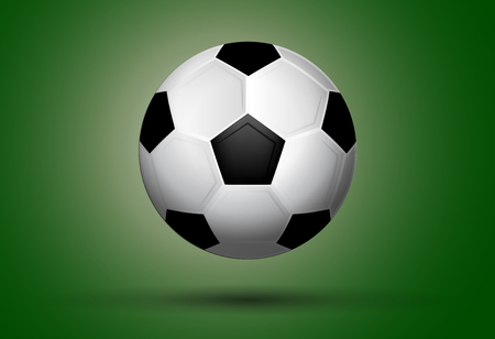 Soccer ball on green background. Useful for calendar or general needs for sport and hobby banners. Vector illustration Illustration