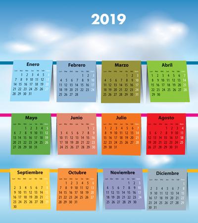 Spanish calendar for 2019 like laundry on the clothline. Mondays first