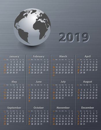 Calendar for 2019 with globe on a brushed metal texture. Sundays first. Vector illustration 일러스트