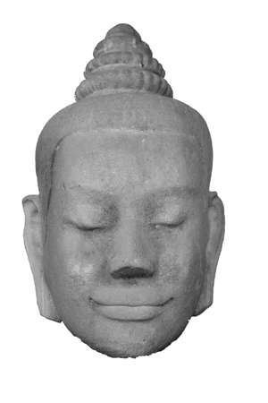 head of smiling buddha made by stone in black and white mode photo