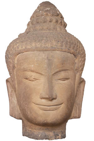 smiling buddha: head of smiling buddha statue made by stone Stock Photo